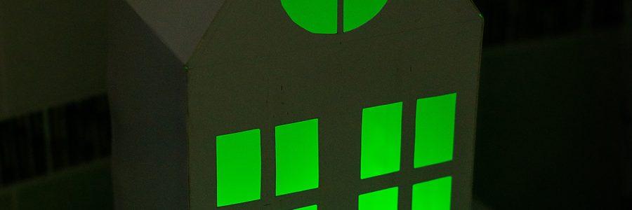Домик светильник из картона